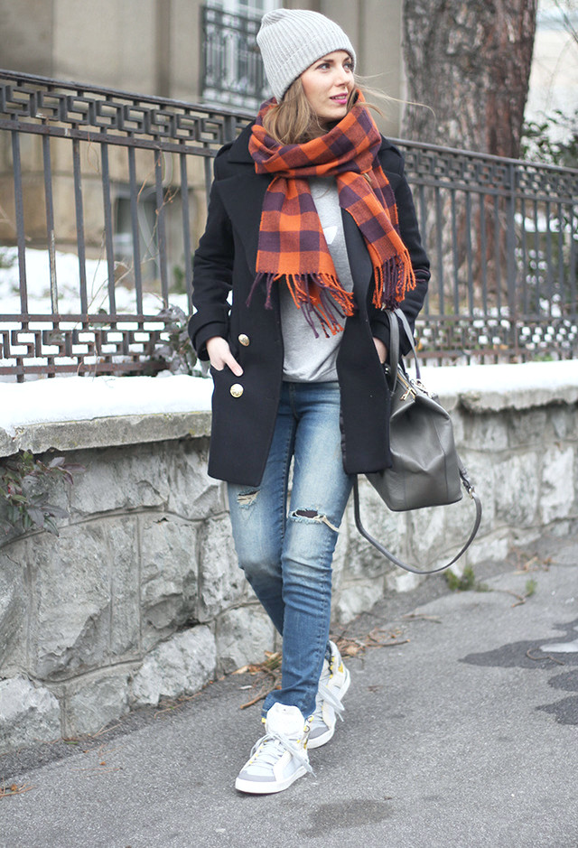 Casual Outfit Idee mit Schal