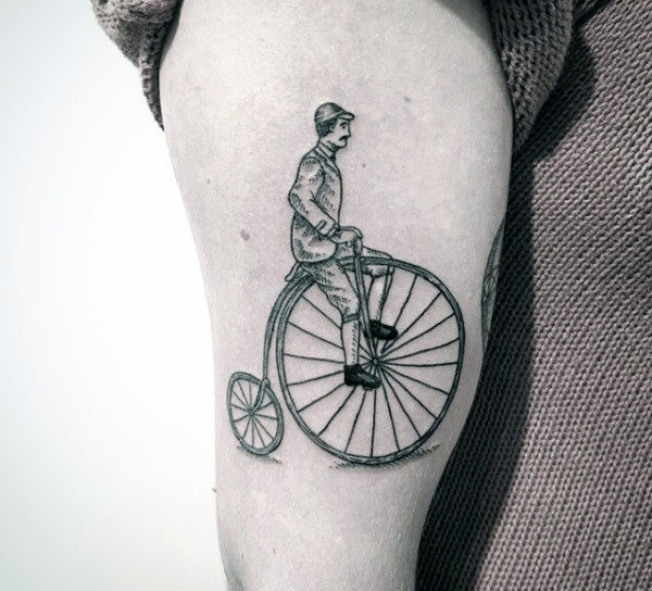Penny Farthing Bicycle Tattoo On Arms für Männer