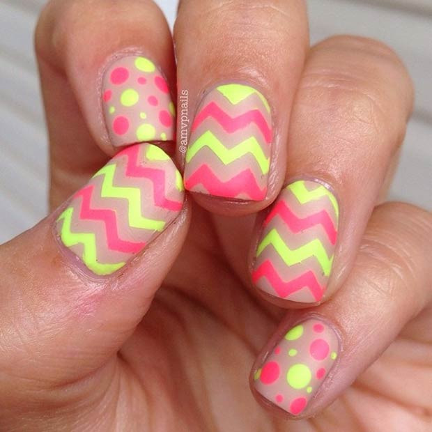 Neon Chevron und Polka Dots Nails