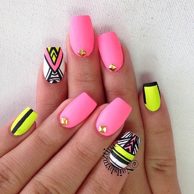 Neon, Matte Tribal Nails