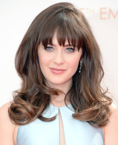 Zooey Deschanel Long Hair style : 2014 Angled Waves