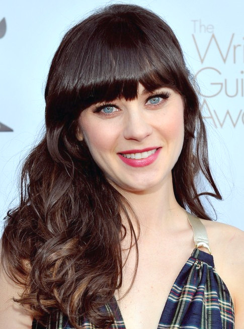 Peinado Largo Zooey Deschanel: Olas Parted Side
