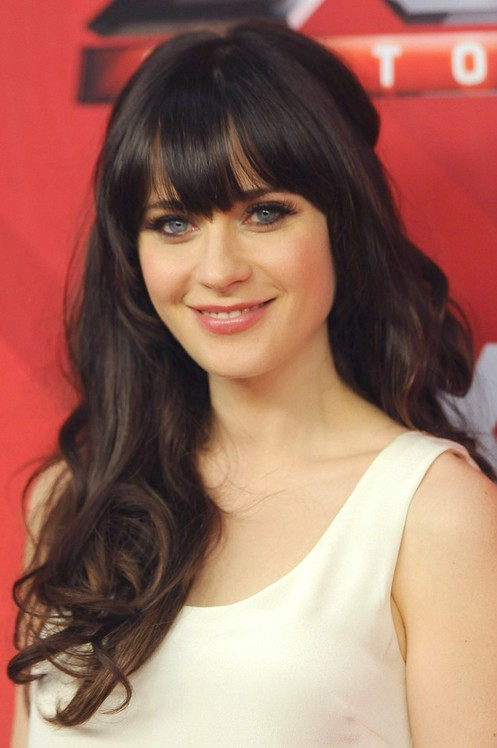 Peinado Largo Zooey Deschanel: Rizos Parted