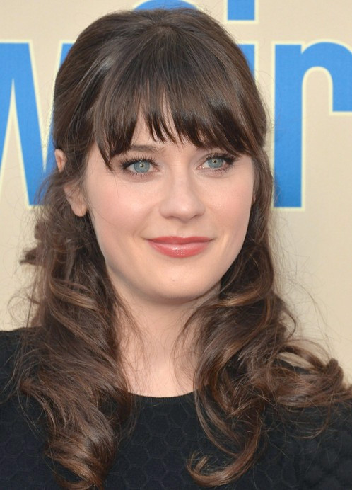 Peinado largo Zooey Deschanel: Half Up Half Down