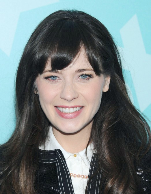 Peinados largos de Zooey Deschanel: 2014 Black Hair with Bangs