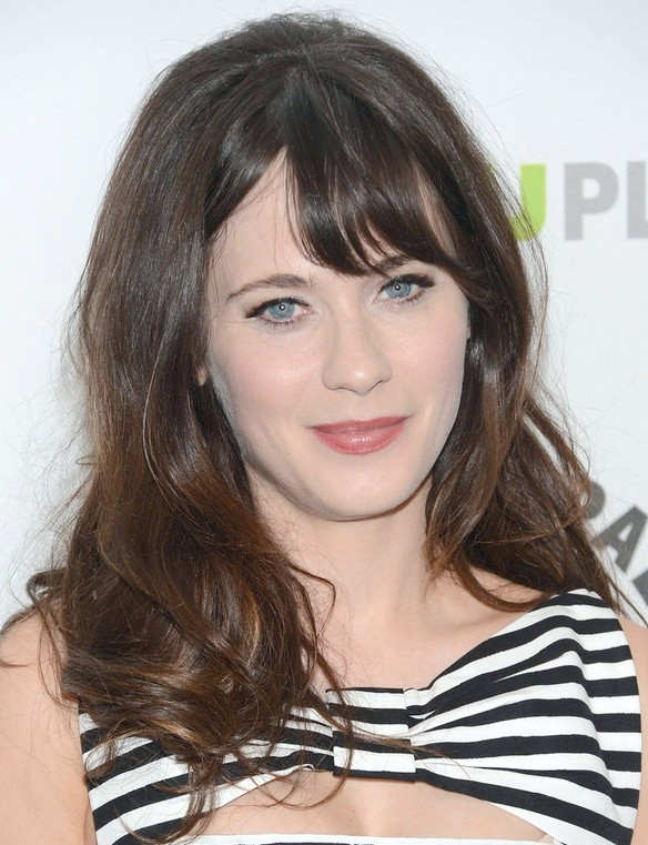 Peinado Largo Zooey Deschanel: Olas Divertidas