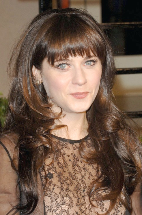 Peinado Largo Zooey Deschanel: Rizos Marrones
