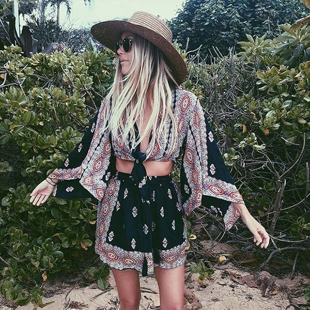 Boho Printed Rock und Top Outfit Idee