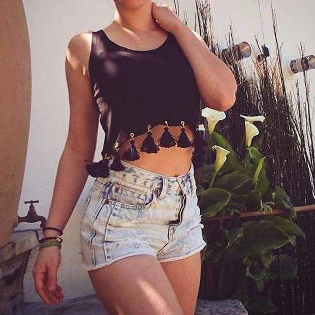Crop Top und Shorts Sommer Outfit Idee
