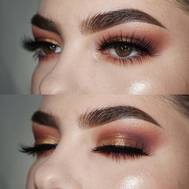 Glamorous Gold Eye Makeup für Make-up-Ideen für Thanksgiving-Dinner