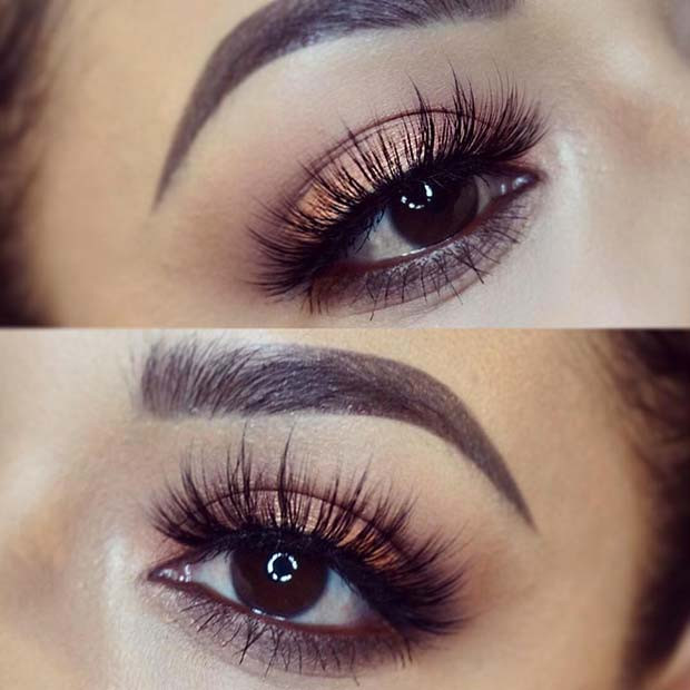 Warme Lidschatten mit Bid Lashes für Make-up-Ideen für Thanksgiving-Dinner