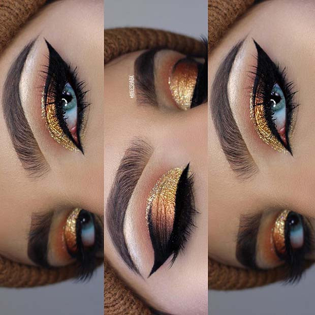 Wunderschöne Gold Glitter Makeup für Make-up-Ideen für Thanksgiving Dinner