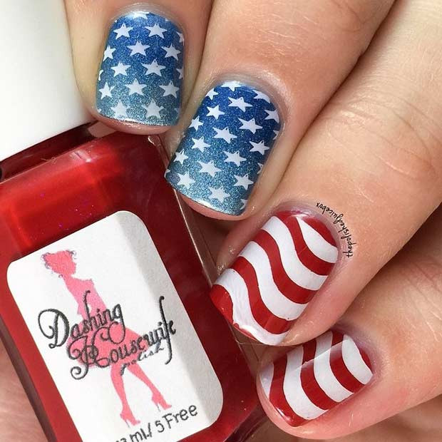 Ombre Memorial Day Nageldesign