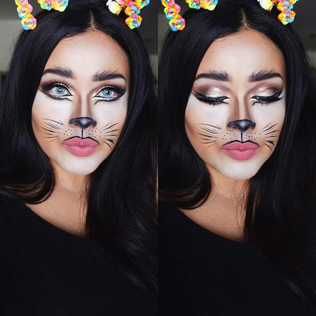 Hübsche DIY Katze Halloween Make-up Idee