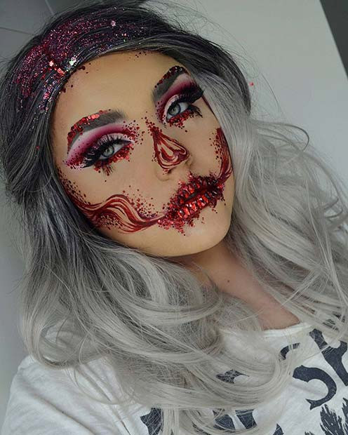 Hübsches Halloween-Make-up mit Glitzer