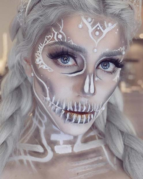 Weißer Sugar Skull Halloween Makeup