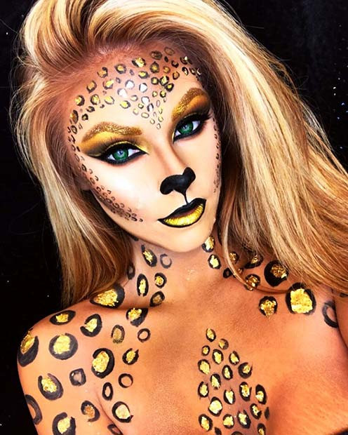 Schönes funkelndes Leopard-Halloween-Make-up