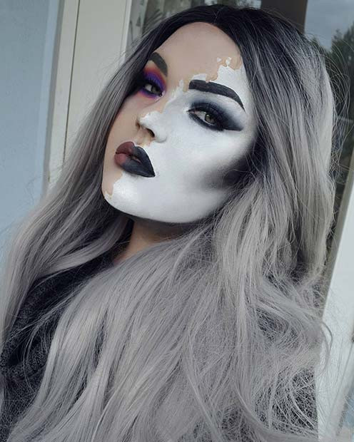 Einfarbiges Halloween-Makeup