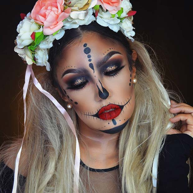Zuckerschädel-hübsches Halloween-Make-up