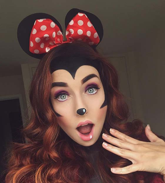 Niedliche Minnie Mouse Halloween Make-up und Kostümidee