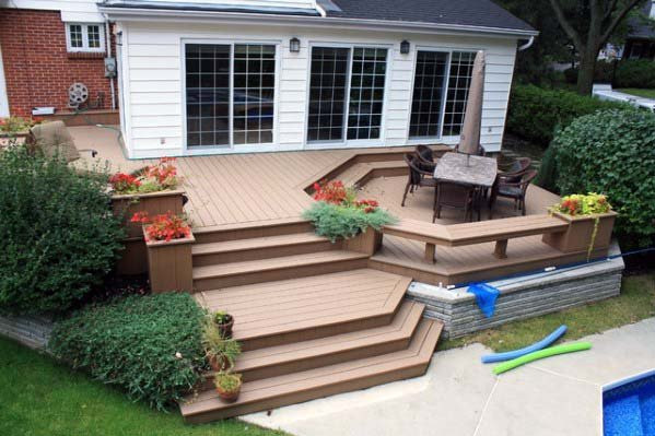 Versunkene Konversation Pit Deck Bench Design-Ideen