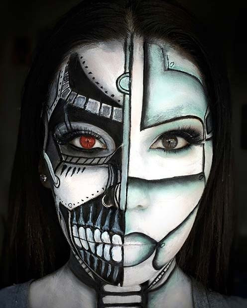 Gruseliges Cyborg Halloween Make-up