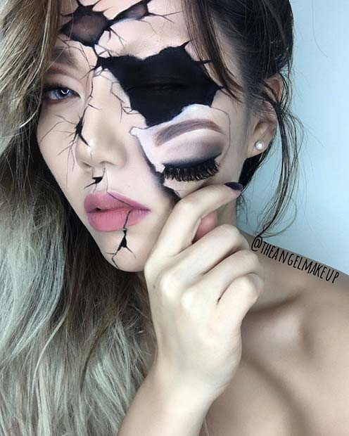 Gebrochene Puppe Halloween Makeup Illusion