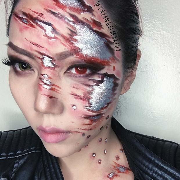 Terminator inspiriert Cyborg Halloween Make-up