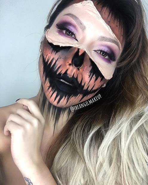 Furchtsames halbes Kürbis-Halloween-Make-up