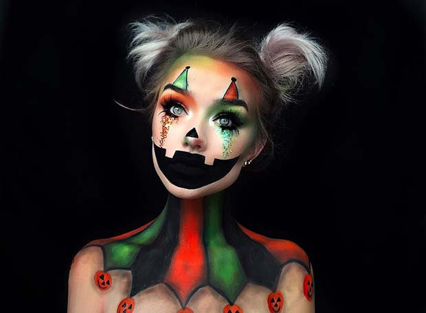 Illusions-Kürbis-Clown-Halloween-Make-up