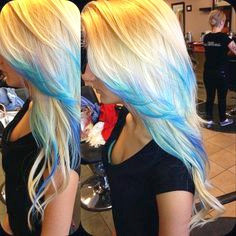 Dip Dyed Blue Hairstyle