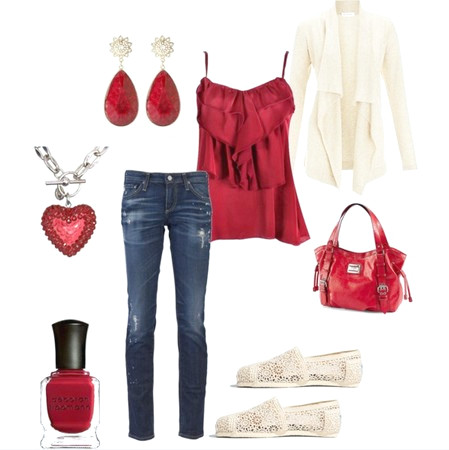 Rotes Outfit, rotes Top, Strickjacke und Flats