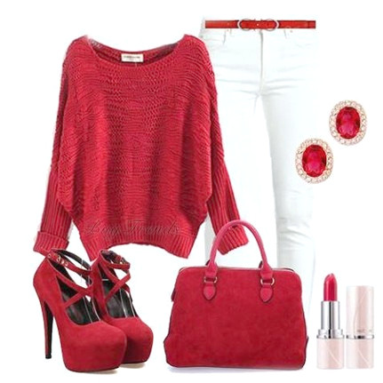 Rotes Outfit, roter Pullover, Tasche und Pumps