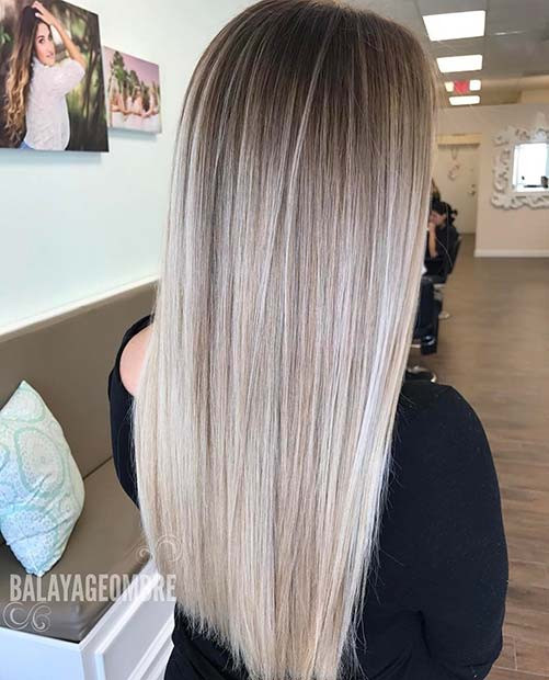 Dunkle Wurzeln, hellblonde Tipps Balayage Color Idee