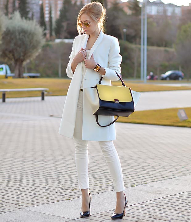 All White Work Outfit Idee
