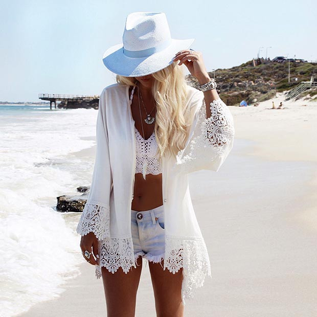 All White Beach Outfit
