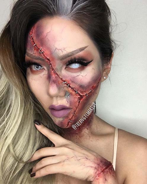Scary Slash Halloween Makeup Idee