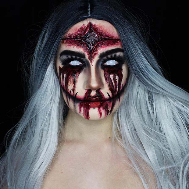 Gruselige Hexe Halloween Make-up Idee