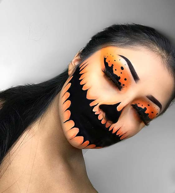 Furchtsames Kürbis-Halloween-Make-up