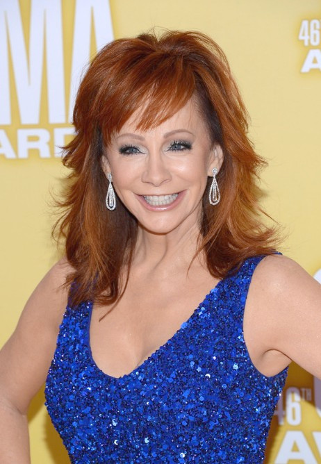 Reba McEntire Red Layered Red Hairstyle for Summer
