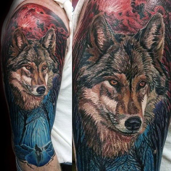 Cooler Wolf In Forest Herren Half Sleeve Tattoo