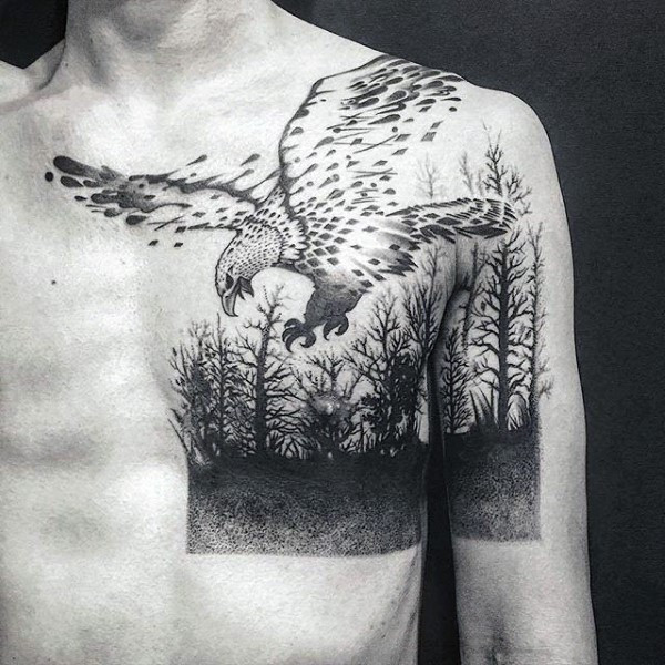 Eagle Guys Forest Oberer Brust- und Arm-Tattoo