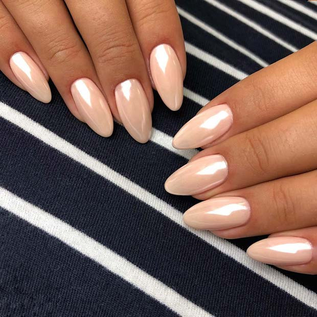 Trendy Chrome Nude Nail Idea