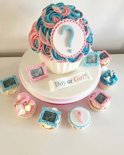 Cupcake Gender Reveal Cake Idee mit Baby-Scans