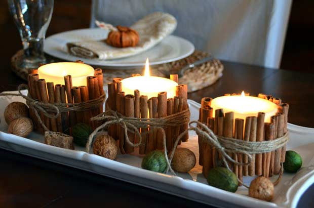 Zimtstange Kerzen Easy DIY Thanksgiving Decor