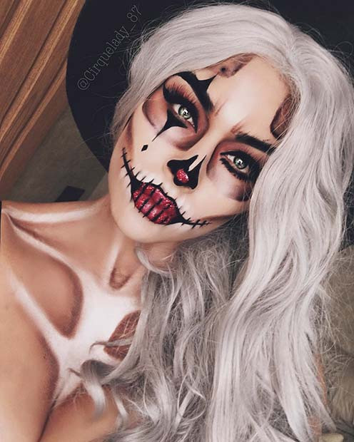 Skelett-Clown-Make-up-Idee für Halloween