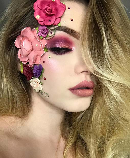 Hübsches Blumen-Halloween-Make-up