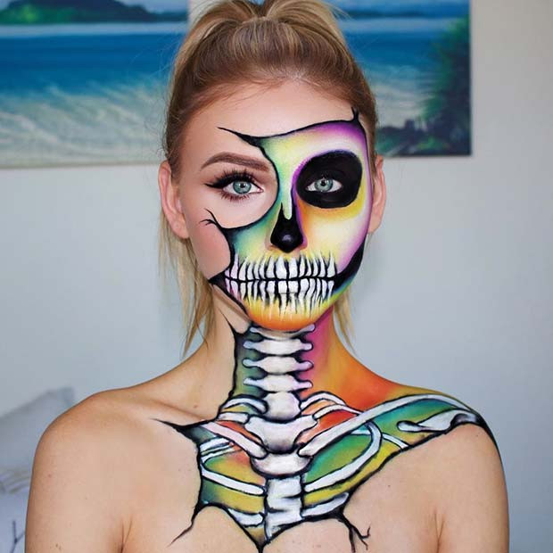 Buntes Skelett-Make-up für Halloween
