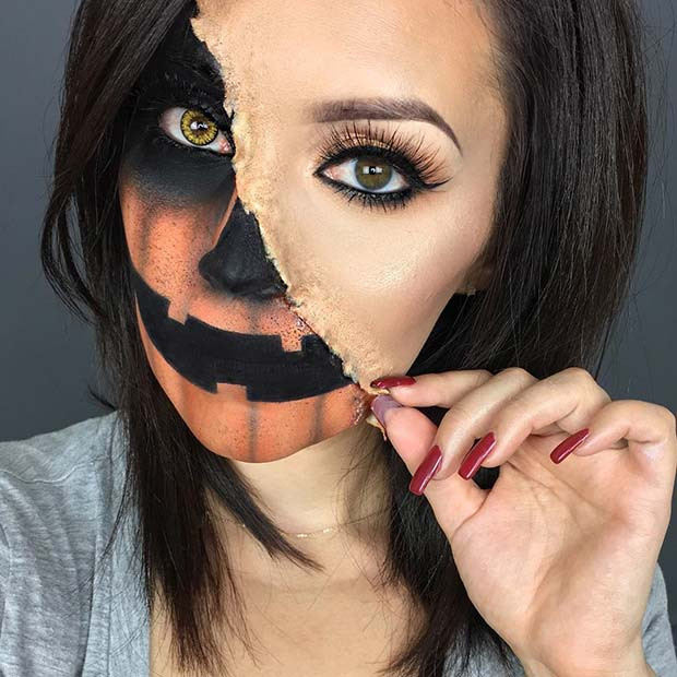 Halbes Kürbis-Halloween-Make-up