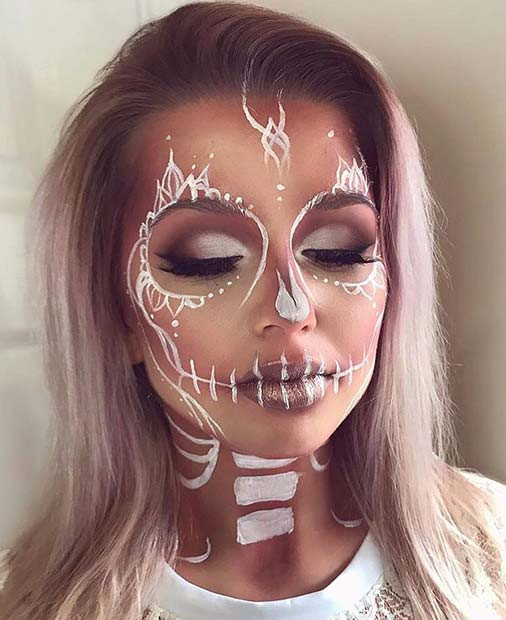Hübsches weißes Skelett Halloween Make-up